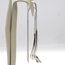 Drop Earrings White Gold 750 18K, Double, Spiral, Sculpted, Made in Italy image 2