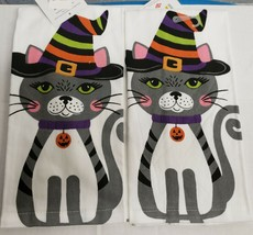 """2 SAME PRINTED COTTON KITCHEN TERRY TOWELS (15""""x25"""") CAT IN HALLOWEEN HA... - $13.85"""