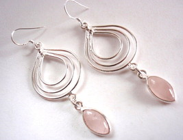 Rose Quartz Earrings Marquise Dangle with Triple Hoop 925 Sterling Silver Dangle - $25.69