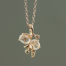 Rose Quartz Floral Rose Gold Plated Necklace - €60,26 EUR