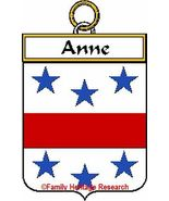 Anne French Coat of Arms Print Anne Family Crest - $25.00