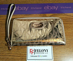 Michael Kors Jet Set Travel Continental Wallet Rose Gold Faux Leather $1... - $25.73