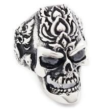 Stainless Steel Phoenix Flower Fang Skull Cubic Zirconia Eyes Men Biker Ring US  - $15.99
