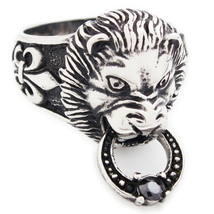 Stainless Steel Lion Head Door Knocker Men Biker Ring US Size 8 - $14.99