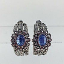 Marcasite Blue Rhinestone Earrings Silver Tone Avon Wedding Vintage Woma... - $24.74