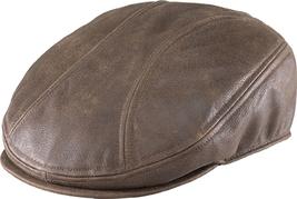 Henschel Leather Ivy League Driver Cap Sweatband Black Distressed Brown - $67.00