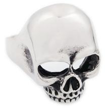 Stainless Steel Small Polish Jawless Skull Men Biker Ring US Size 8 - $12.99