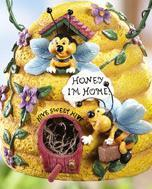 Bee Hive Birdhouse w/ Hanging Hook