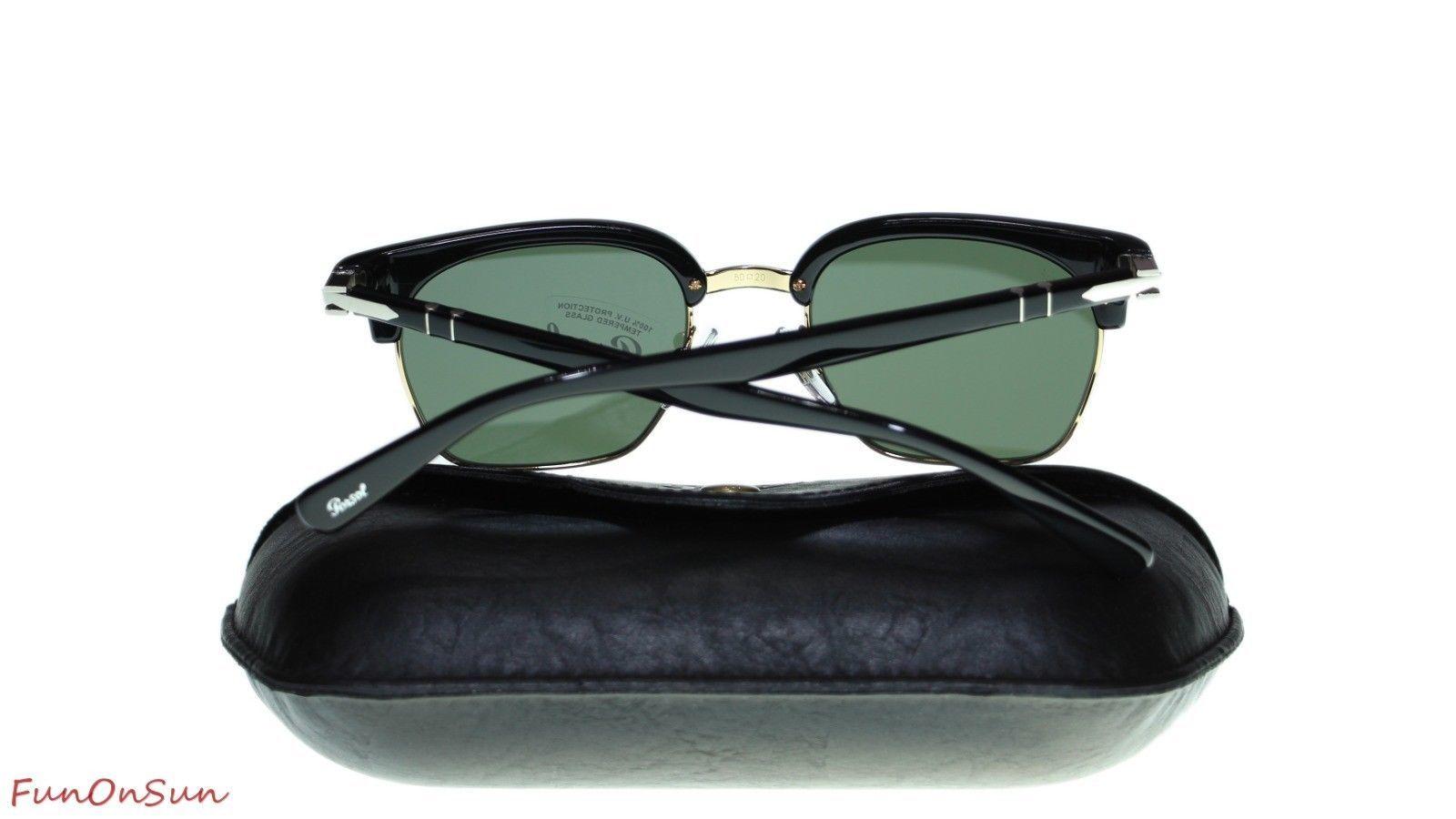 0382d2f24e371 Persol Mens Square Sunglasses PO3199S 9531 Black Green Lens 50mm