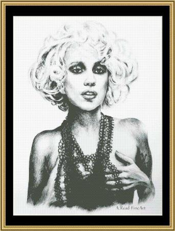 Lady Gaga Chain Reaction musician cross stitch chart Mystic Stitch