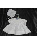 Petit Ami White Smocked Lace 2PC Dress Preemie Reborn Baby Girls Bonnet - $34.64