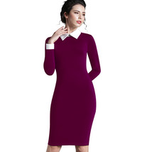 Women Autumn Turn-down Collar Fit Work Vintage Elegant Midi Dress - $27.00
