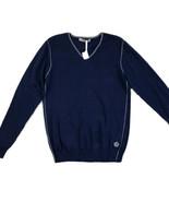 Sorbino Men's Sz L V-Neck Long Sleeve Lightweight  Cotton Blue Pullover ... - $23.83