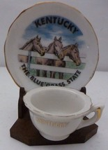 Mini Souvenir China Cup & Saucer Kentucky The Blue Grass State with Stan... - $14.50