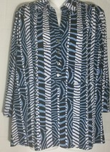 Alfani Woman Top 1X Tunic Plus Print Button Front Longer Length Flowy Stretchy - $12.86
