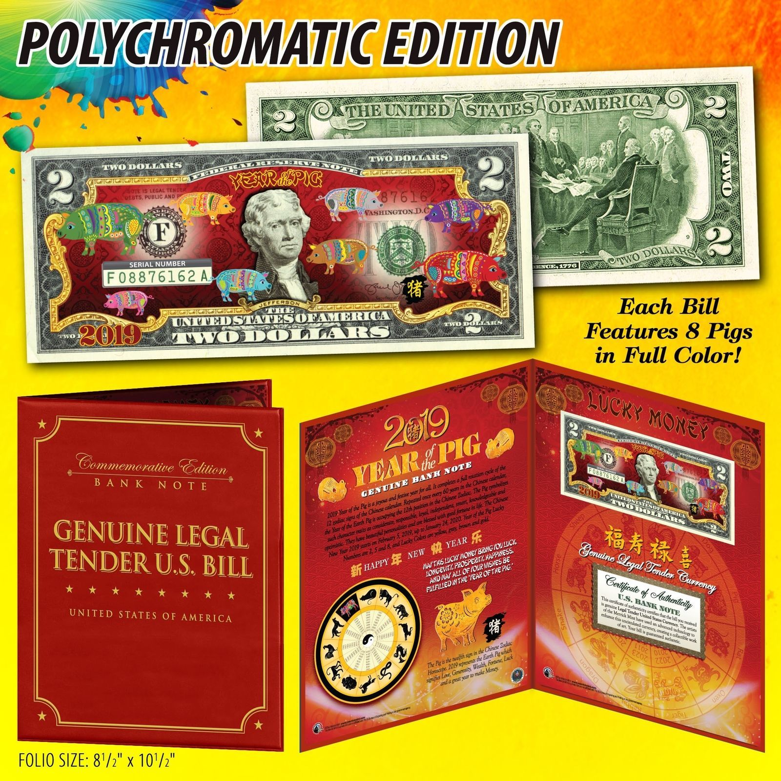 2019 Lunar Chinese New YEAR OF THE PIG Polychrome 8 Pigs $2 Bill in 8x10 Folio - $18.65