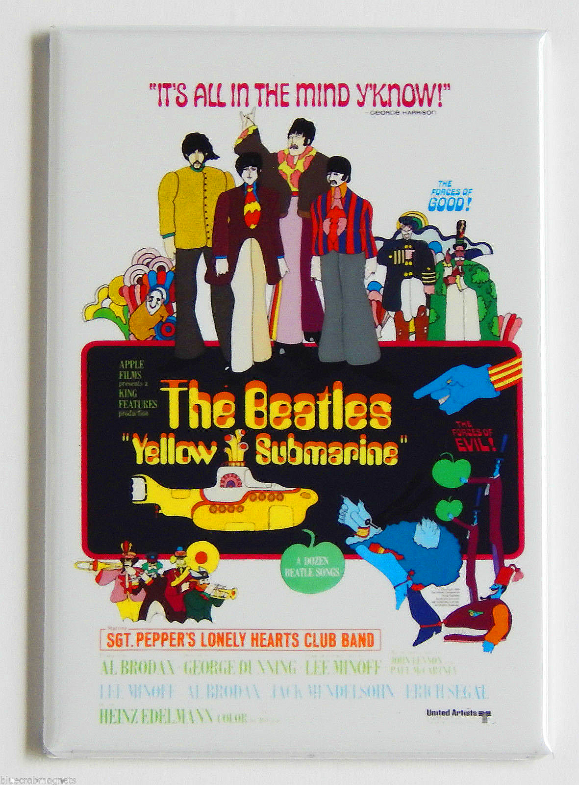 The Beatles Yellow Submarine Movie Poster Magnet 2x3 inches Blue Meanies RARE OP