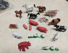 18 Pcs Barnyard Farm Animals Hard Plastic Horse Cows Sheep, Pigs, Hens, ... - $6.79