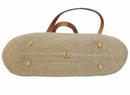 Eric Javits New York Natural Straw & Leather Shoulder Bag Purse image 4