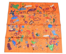 Hermes Scarf Les Confessions Orange Silk 90 cm Scarves Stole with Box Ca... - $672.21
