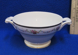 Vintage Edwin Knowles China Co Sugar Bowl USA Floral Garland Pattern Cre... - $12.86