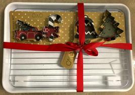 Christmas Cookie 6 Piece Baking Set Metal Sheet Pan Cooling Rack & 4 Cut... - $24.99