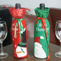 Red Wine Bottle Cover Bags Snowman/Santa Claus Christmas Decoration Sequins - $1.40