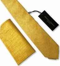 Frederick Thomas matching yellow gold linen mens tie pocket square handkerchief