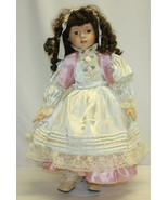 "Vintage 21"" Porcelain Doll – Brown Hair and Eyes Real Eyelashes Unbranded - $19.79"