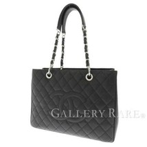 CHANEL Chain Tote Bag Caviar Leather Black Matelasse Coco A20995 Italy A... - $2,307.65