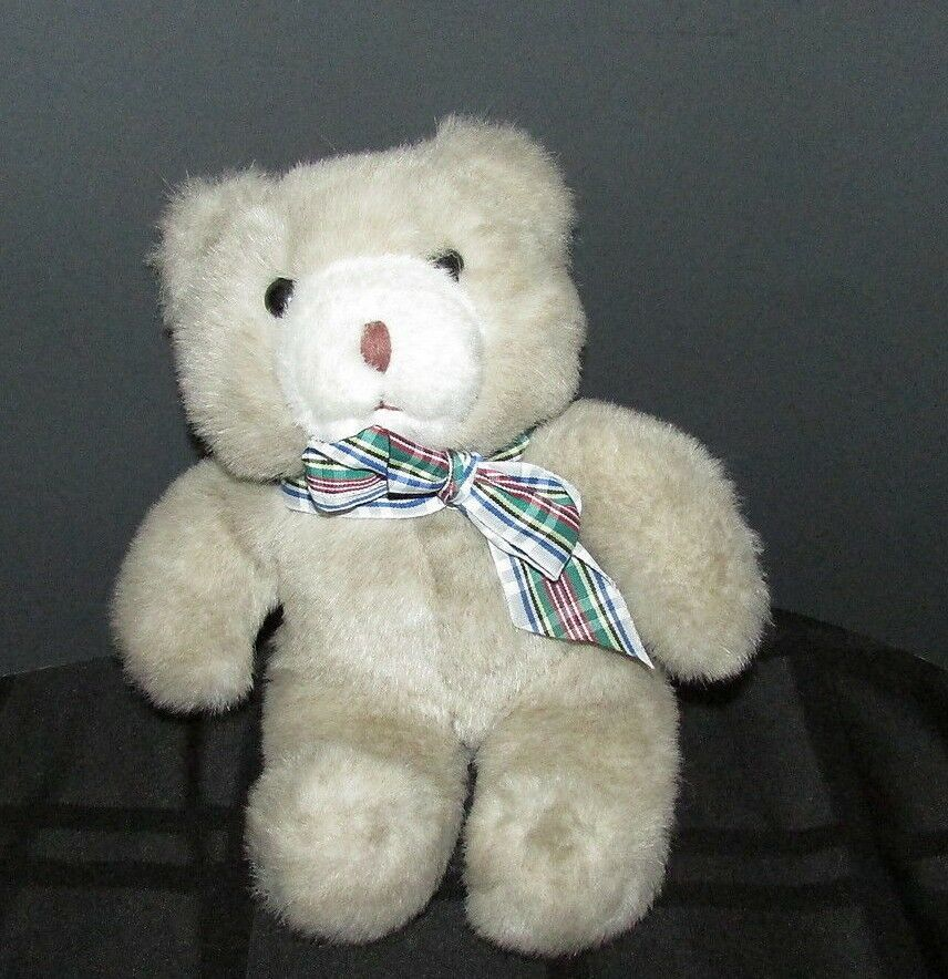 "Primary image for plush teddy bear Manhattan Toy company 9"" light brown tan cream plaid bow 1987"