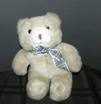 "plush teddy bear Manhattan Toy company 9"" light brown tan cream plaid bo... - $12.02"