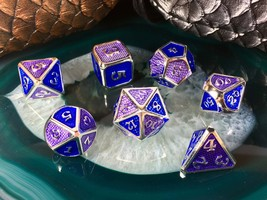 D&D Blue + Purple on Silver METAL Dice Set + Bag 7 Pcs d20 d12 d10 d8 d6... - $26.95