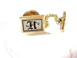 VINTAGE BRUSHED SILVER TONE LETTER INITIAL H HICKOK USA LAPEL PIN TIE TA... - $24.00