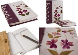 Journal Pétale de fleur Grand Format Fait-main Fleur violette, Uni Pages... - $22.86