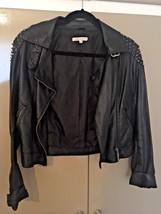 Glamorous Black Faux Leather Biker Jacket With Studs, Buckle TOP.SIZE10 - $49.22