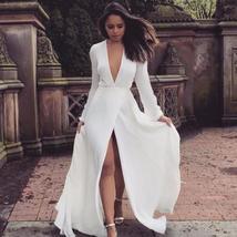 Long Sleeve High Split Beach Bride Dresses Sexy  V Neck Boho Bridal Gowns