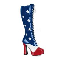 "Sexy American Flag 5"" Chunky Heel Platform Costume Knee High Boots ELE20... - $65.65"