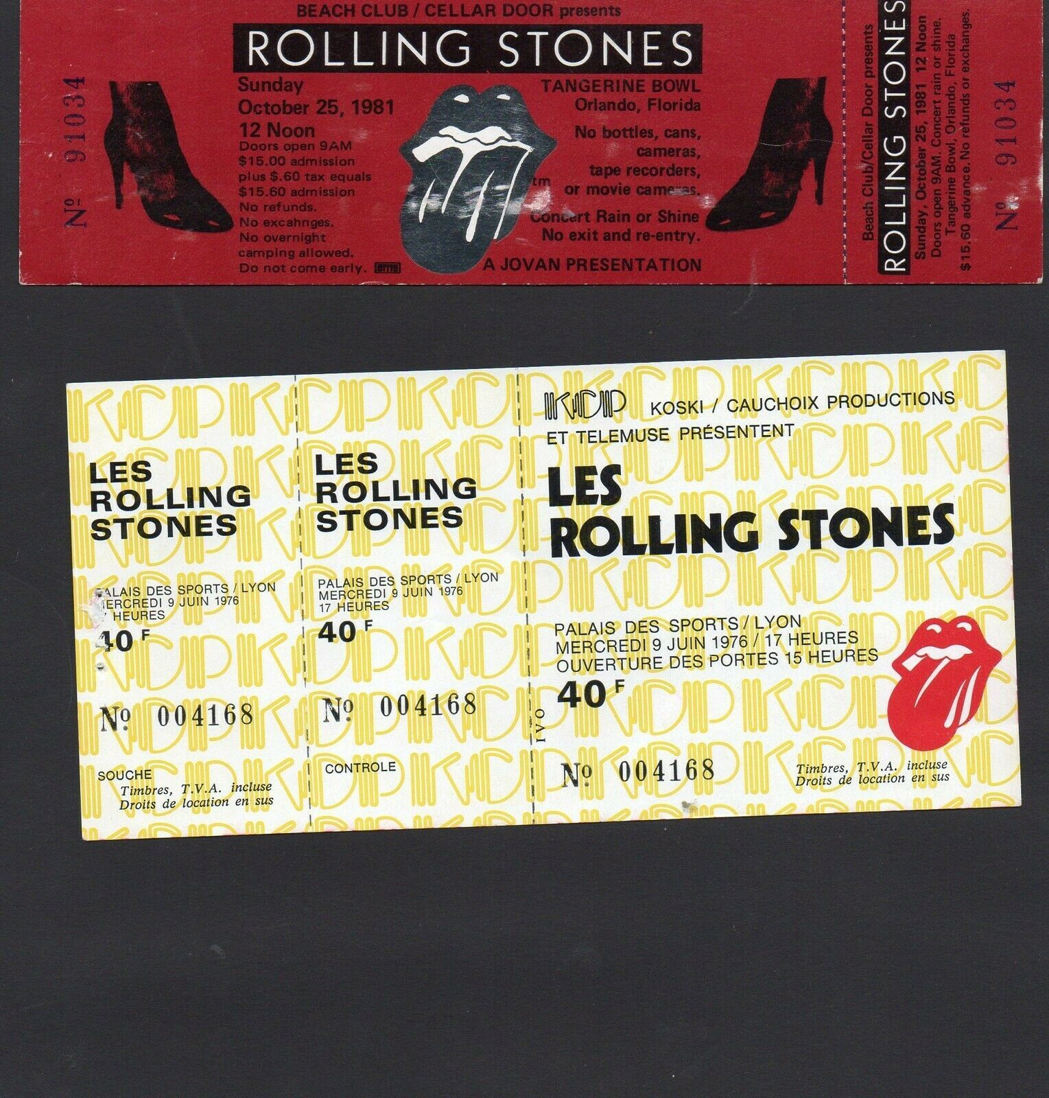 Primary image for ROLLING STONES - 4 vintage concert tickets - MICK JAGGER