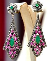Victorian 2.82ct Rose Cut Diamond Emerald/Ruby Women Earrings Thanks Giv... - $853.53