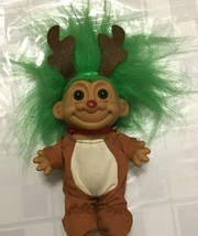 "Christmas Reindeer 5"" Russ Troll Doll Winter Green Hair Antlers Holiday ... - $28.70"