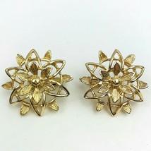 Sarah Coventry Peta Lure Open Work Star Flower Clip On Earrings Gold Ton... - $12.81