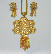 Indian Traditional Gold Plated Flower Style Pendant Chain Earrings Jewelry Sets image 2