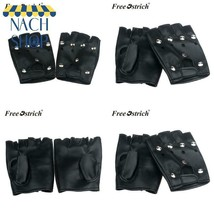 Free Ostrich Pu Leather Gloves Punk Hip-Hop Half-Finger Round Tactical G... - $3.25