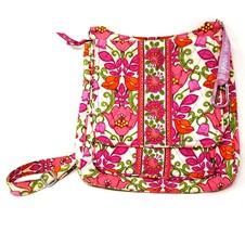 Vera Bradley Lilli Bell Crossbody Messenger bag Spring Floral Pink Orange Tulip - $24.07