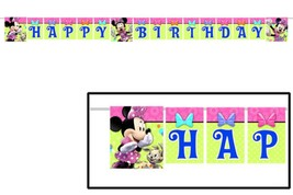 Minnie Mouse Boutique Happy Birthday Jointed Plastic Banner Disney Party... - $3.71