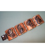 Vintage Modernist copper cuff bracelet with oval ornaments - $40.00