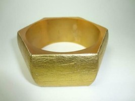 Faux Leather Gold Hexagon Bangle - $4.95