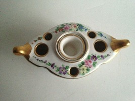"""Vintage Amogee Hand Painted Ceramic Dish Candle Holder? 6.5""""X 3""""X 2"""" France - $31.43"""