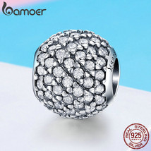 BAMOER New Arrival 925 Sterling Silver Dazzling CZ Crystal Round Beads f... - $22.71+